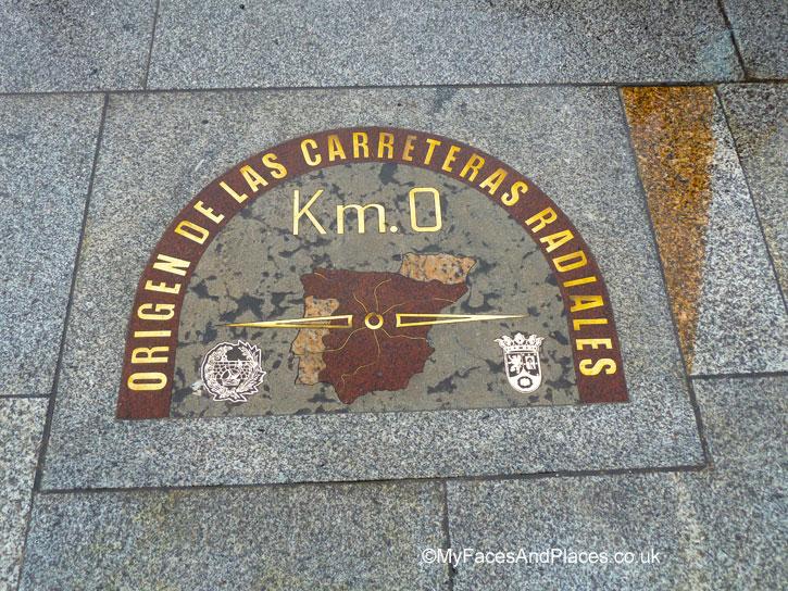 Kilometre 0 plaque at Puerta del Sol