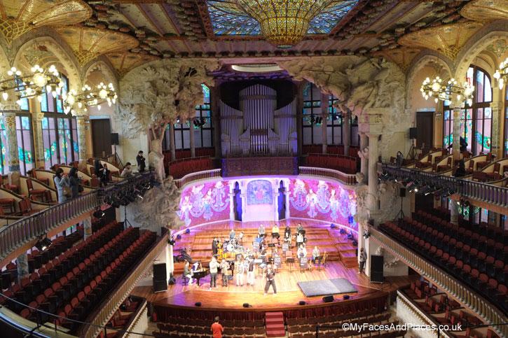 The magnificent Palau de la Musica Catalan in Barcelona, Spain