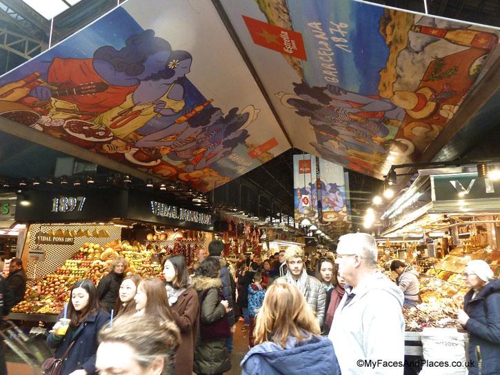La Boqueria Market at La Rambla in Barcelona, Spain