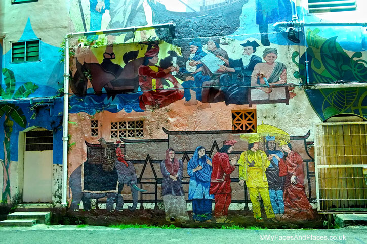 Mural depicting the arrival of Princess Hang Li Po for her marriage to Sultan Mansur Shah in Malacca