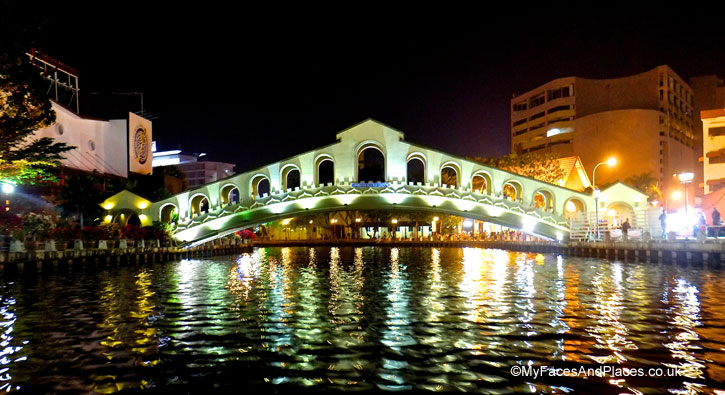An historic bridge is restored and given a makeover on the river in Malacca