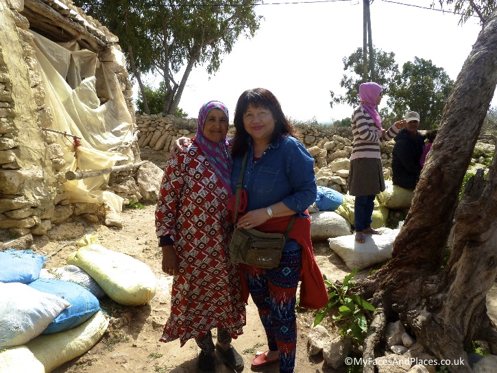 """Helen with our Berber """"auntie"""" the amazing cook and hostess"""