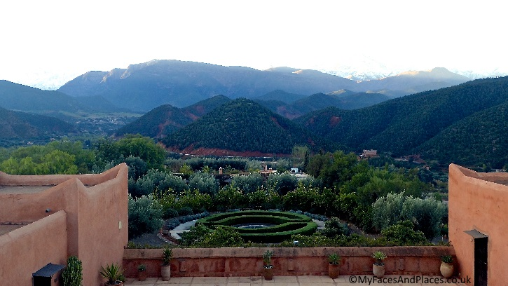 Jaw-dropping view of the valley and mountain of the High Atlas from Kasbah Bab Ourika