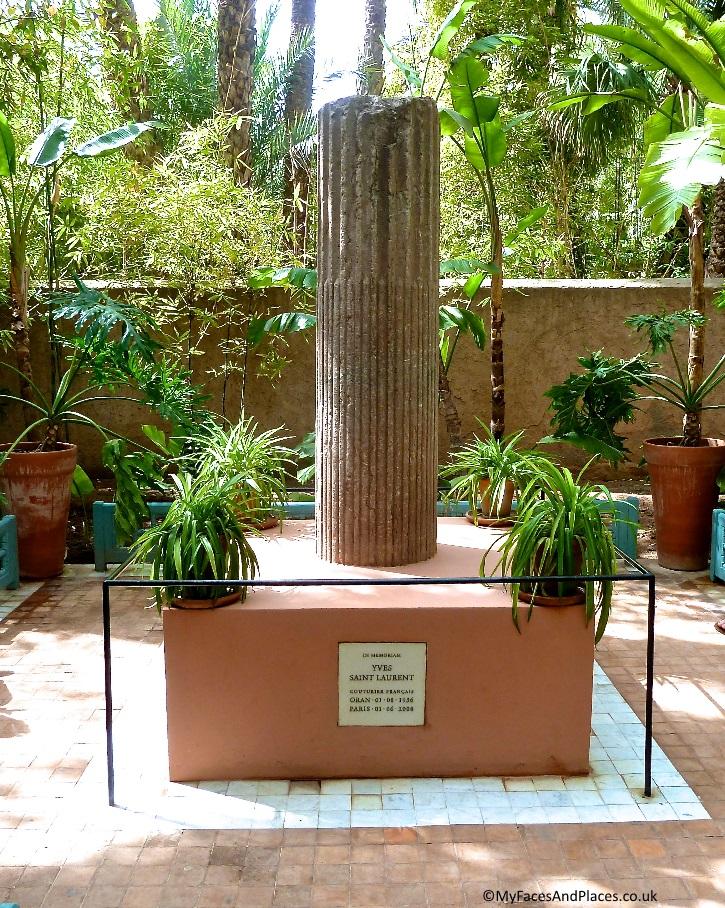 The Yves Saint Laurent memorial column in the Jardin Majorelle