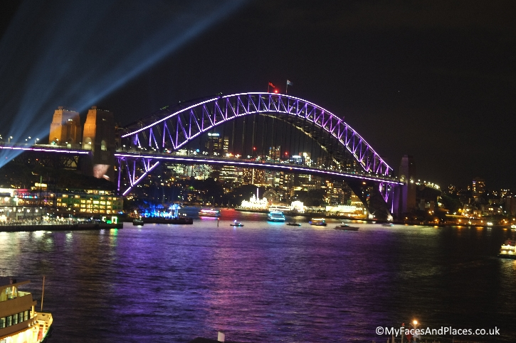 Sydney Stopover - Sydney Harbour Bridge all lit up for Vivid Sydney
