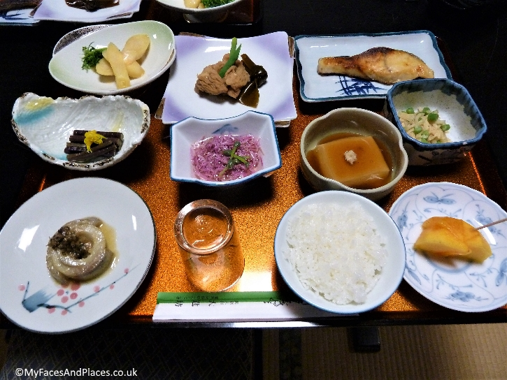 The simple but delicious vegetarian meal served at our Shukubo temple lodge