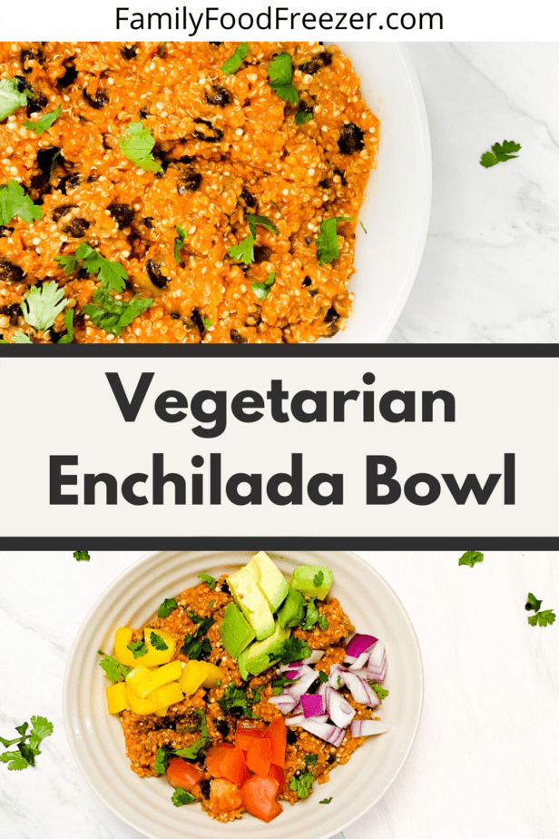 Vegetarian Enchilada Quinoa Bowl | Slow Cooker enchilada quinoa | weight watchers vegetarian recipes | vegetarian freezer dump meals | vegetarian crock pot freezer meals | vegetarian freezer crockpot meals | vegetarian crockpot freezer meals