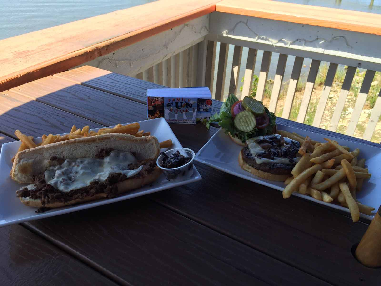 Sunsetters Riverfront Bar food recived with coupon in The Family Fun Book - Daytona Beach Florida