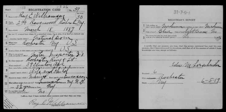 WW1 Draft Card for Ray C Williamson