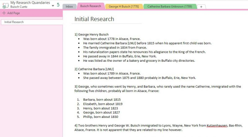 Initial Research Page