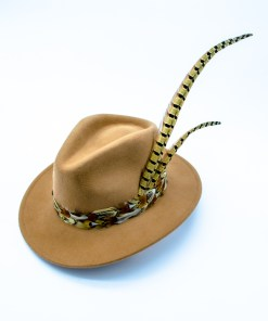 My Fancy Feathers Fedora Hat in Camel, with mixed feather feather twirl.
