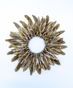 My Fancy Feathers Wreath with pheasant feathers.