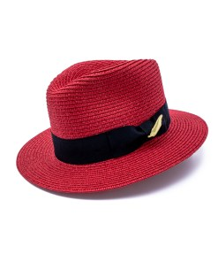 My Fancy Feathers Summer Fedora Hat in Red