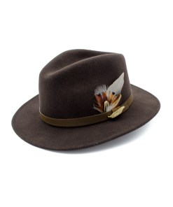 Brown coloured Fedora Hat with Gamebird Feathers and golden pin badge.