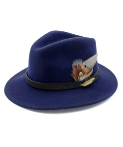 Navy blue Fedora with Gamebird Feathers and golden pin badge.
