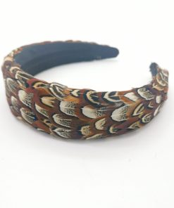 A wide Alice Band, with Pheasant Feathers in shades of brown and cream.