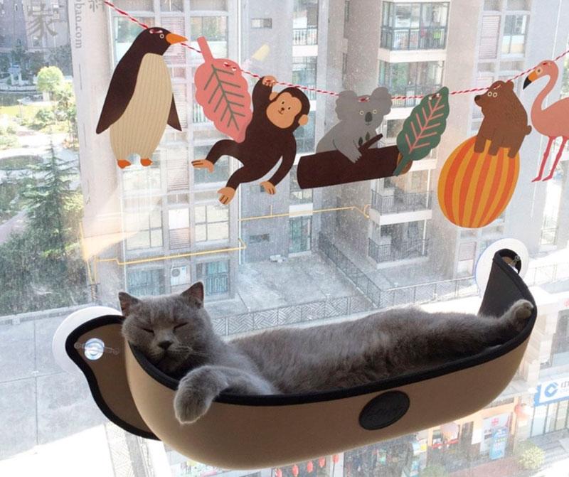 Необычная лежанка для кошек, с креплением на окно