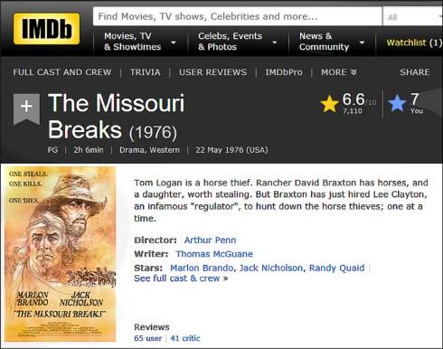 MISSOURI BREAKS IMDB Review