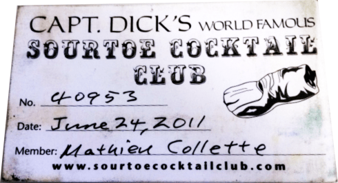 The Sour Toe Cocktail ... Wallet Card