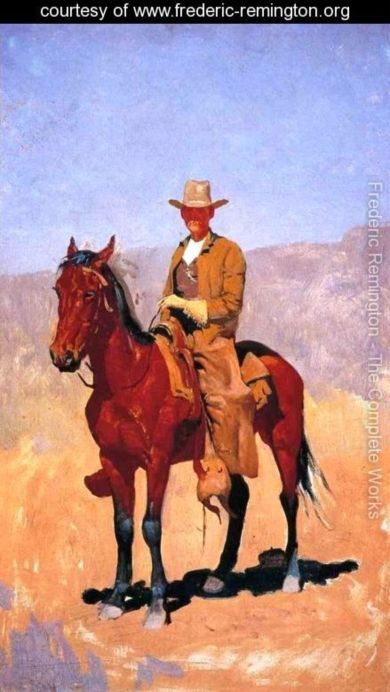 Mounted Cowboy In Chaps With Race Horse
