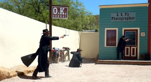 OK CORRAL REENACTMENT ... shooting continues ...