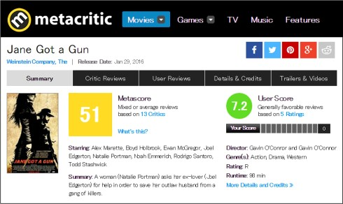 jane got a gun metacritic review