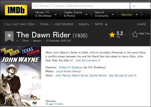 The Dawn Rider IMDB review
