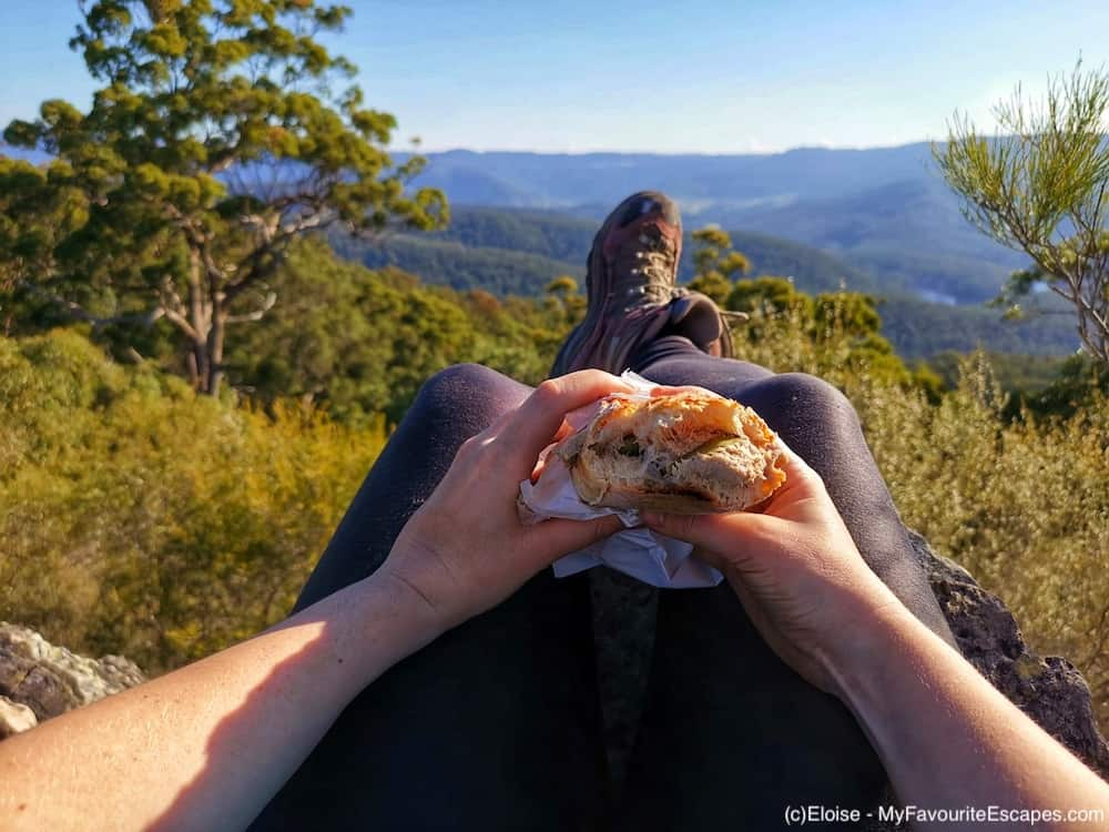 Eating a sandwich sitting at the start of Pages Pinnacle ridge