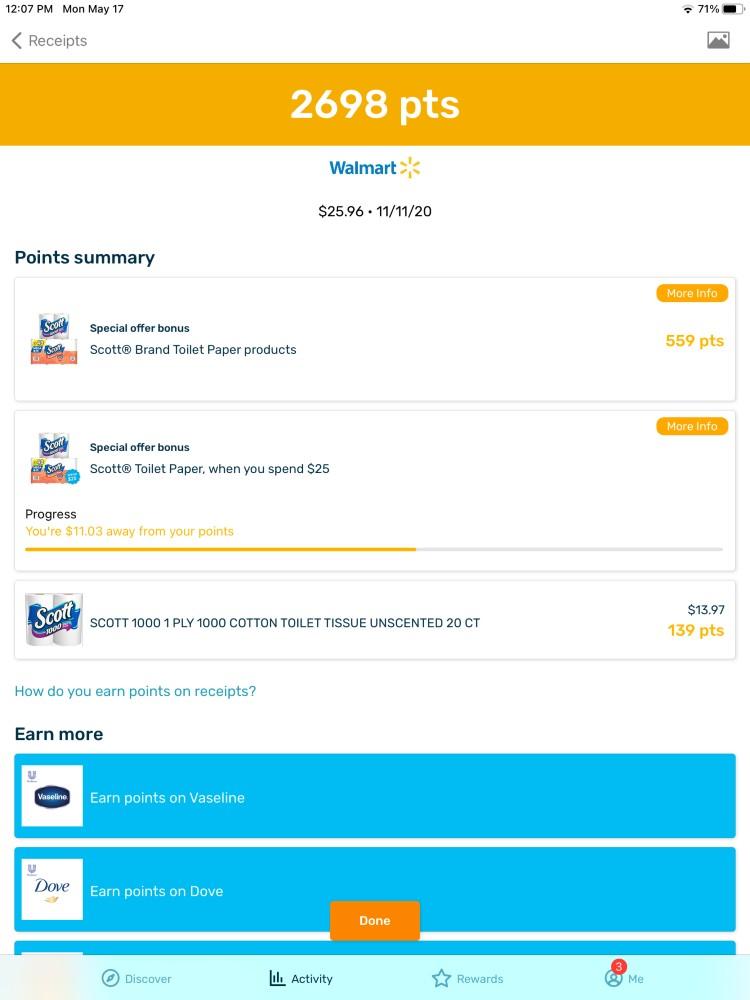 2000 points received Walmart - Fetch Rewards Hack - My Financial Hill