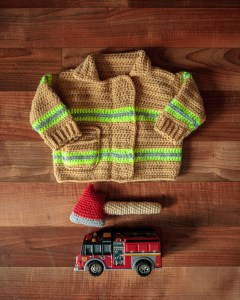 Firefighter's Jacket Baby Sweater crochet pattern, NB-3M, 6-9M or 12-18M sizes with axe rattle pattern