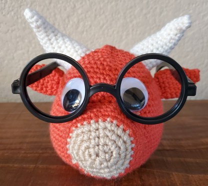 Little Red Bull Eyeglass Holder Crochet Pattern