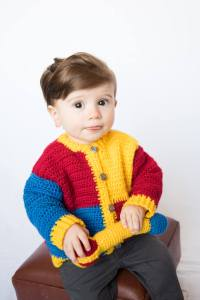 Royal Baby Sweater Crochet Pattern, Newborn-3M, 6M or 9M sizes with Scepter Rattle