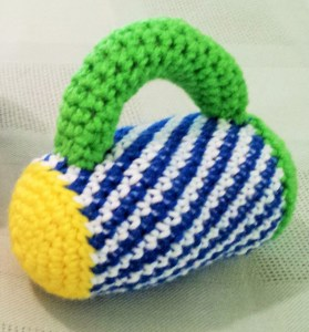 Flashlight baby rattle crochet pattern