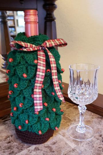 Christmas tree wine gift bag