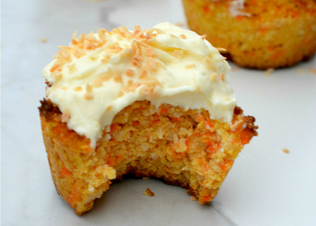 Carrot Coconut Muffins with Lemon Cream Cheese Frosting