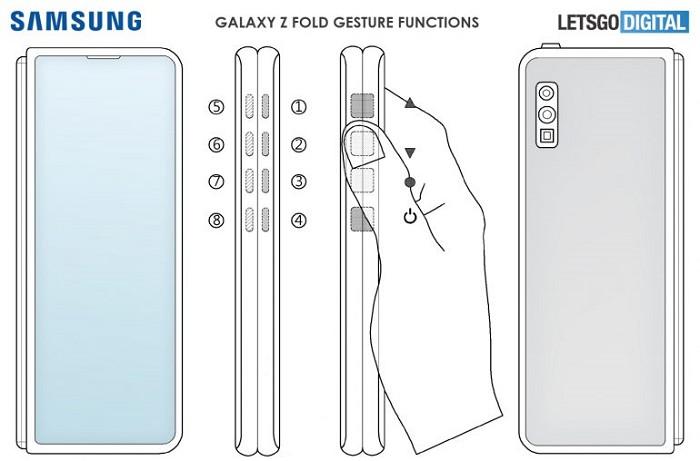 帶有滑動和按壓手勢控制的 Samsung Galaxy Z Fold