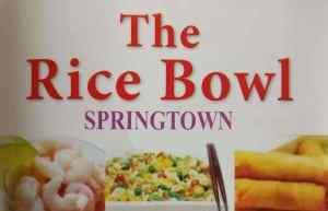 Rice Bowl Springtown ONLINE ORDERING takeaway menu for collection or Delivery. Phone number and opening hours / times