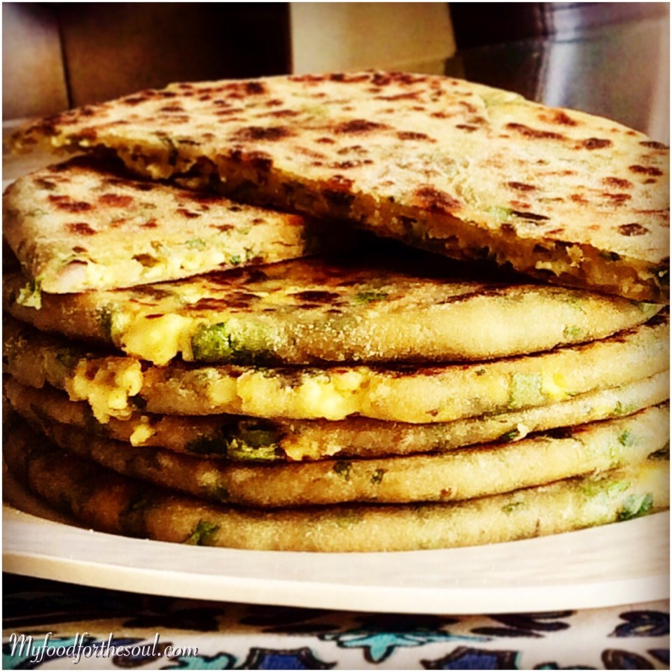 Spinach Green Onion Paratha stuff with Paneer Onion Bhurji