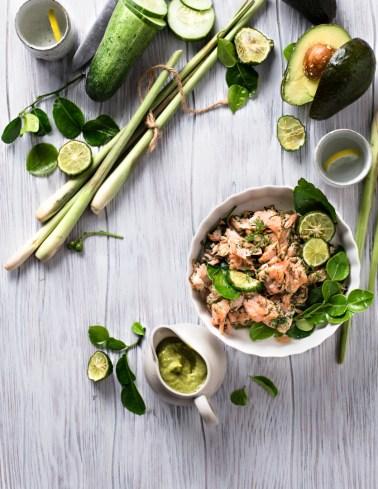 Salmon salad with avocado dressing with lemongrass, lime leaves & kaffir lime