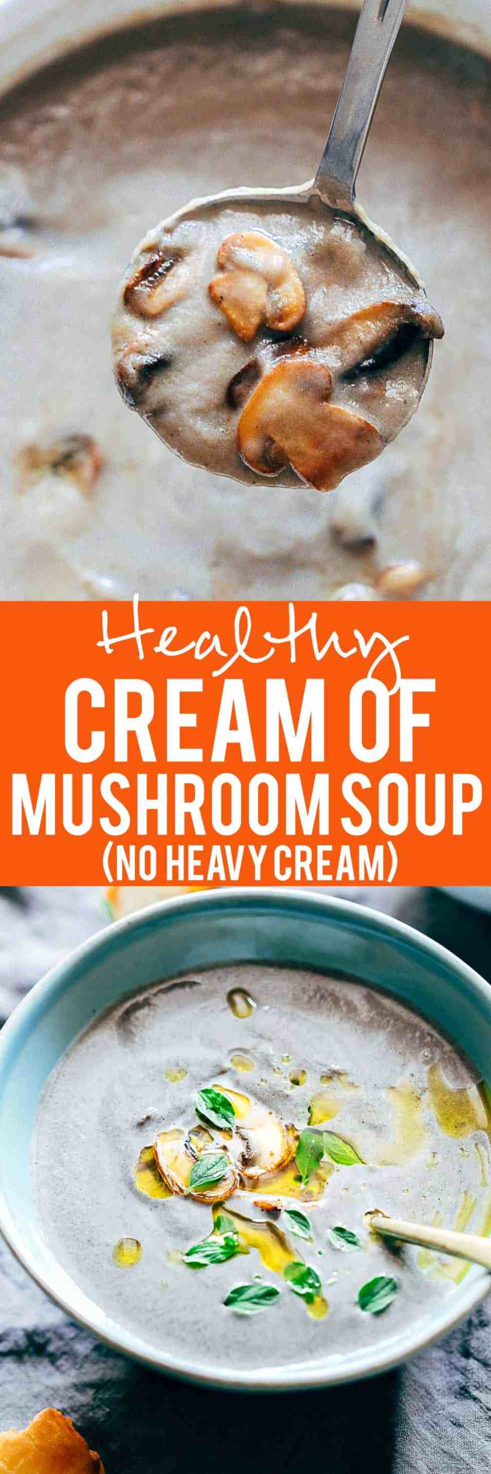 Healthy cream of mushroom soup is made in the pressure cooker without any weird ingredients. Its light, super creamy and gets its creaminess from a secret ingredient!