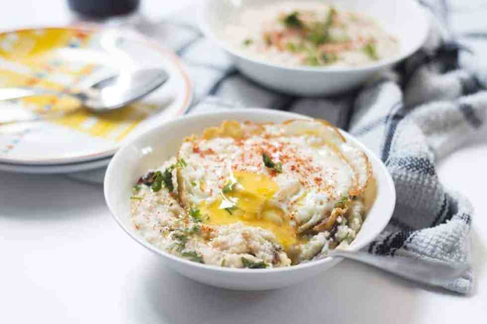 Garlicky Oats with Masala Fried Eggs is a quick, tasty and healthy breakfast option for when you are in a hurry, but still want some fueling up.