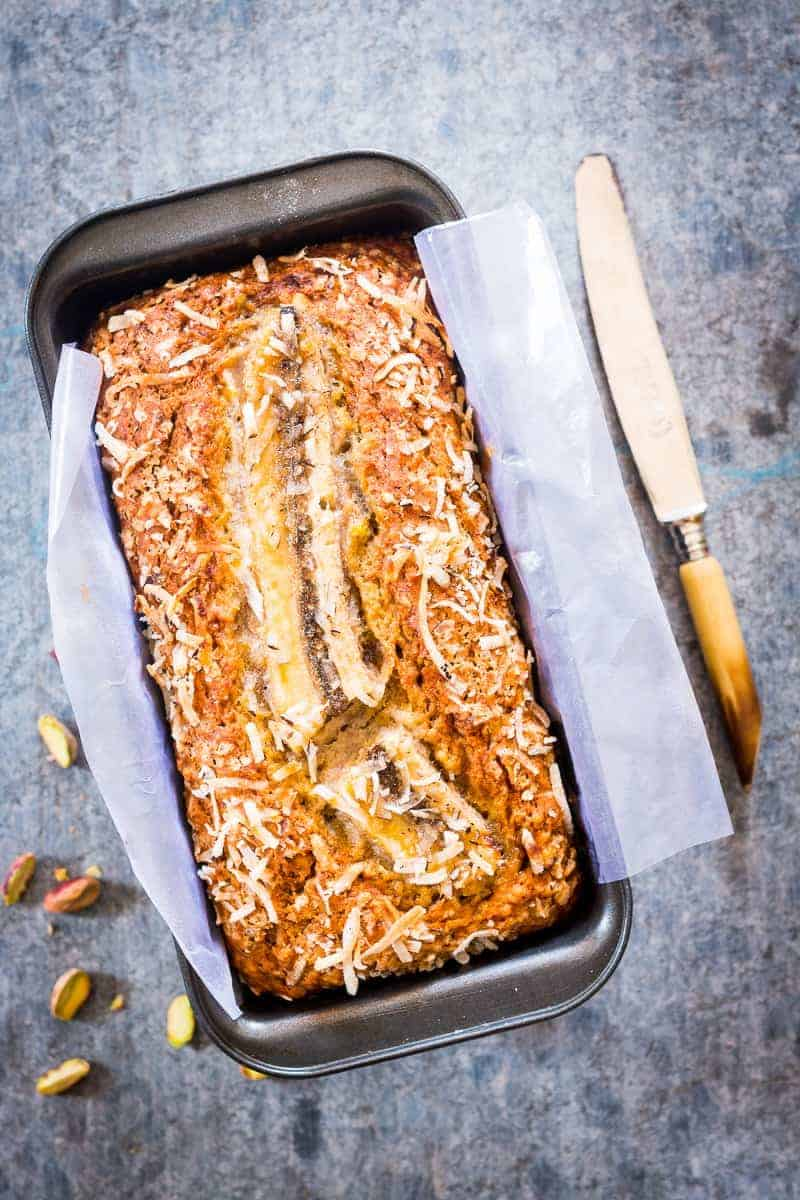 ou only need a few simple ingredients to make this healthy and super quick coconut pistachio banana bread. Moist, nutty and the perfect holiday snack.
