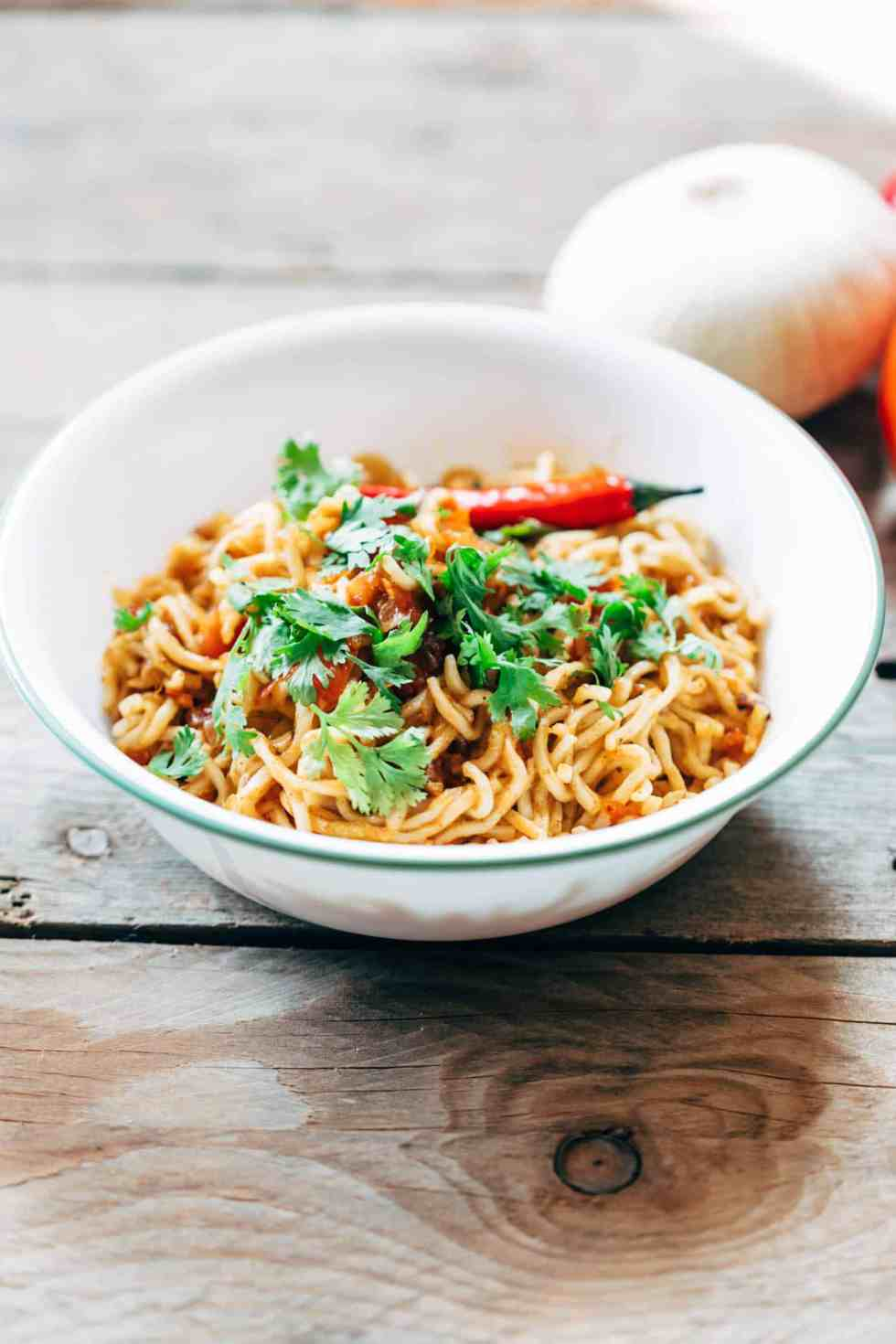 Spicy Masala Maggi is super easy to make and probably everyones favourite maggi recipe. It's just like the maggi they make on the street but better!