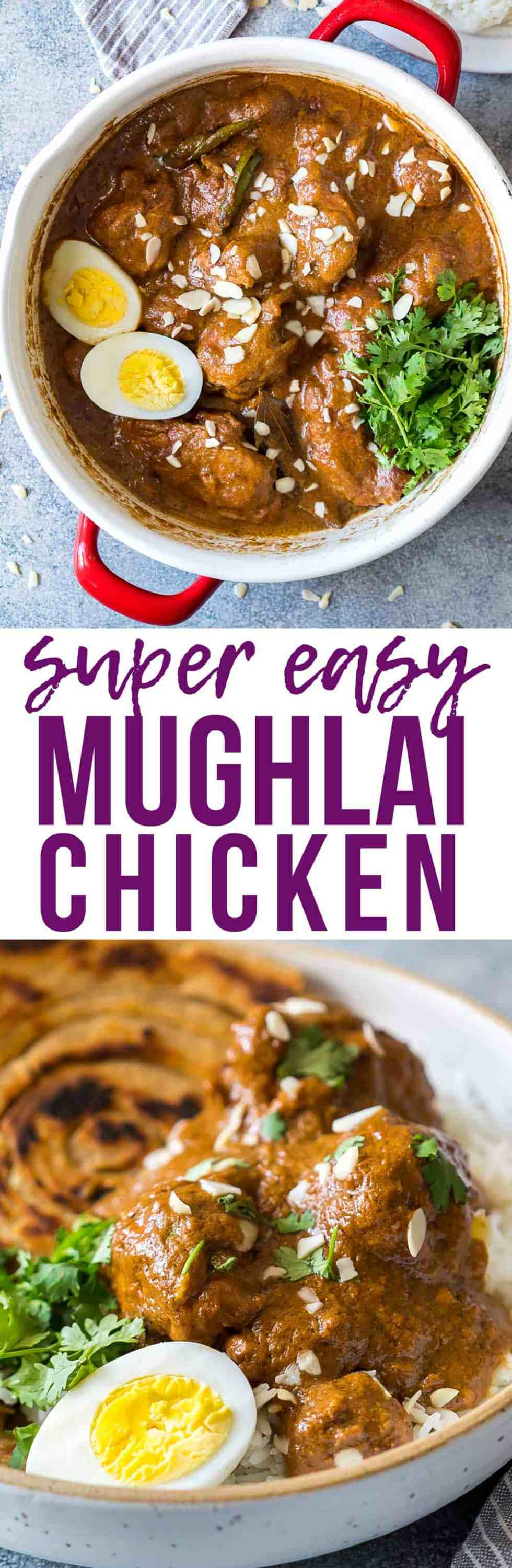 Mughlai Chicken is a restaurant style, north Indian recipe with a creamy, dark brown onion gravy that will have you licking the plate! Serve it with parathas, biryani or jeera rice, and feel free to substitute paneer if you are vegetarian.