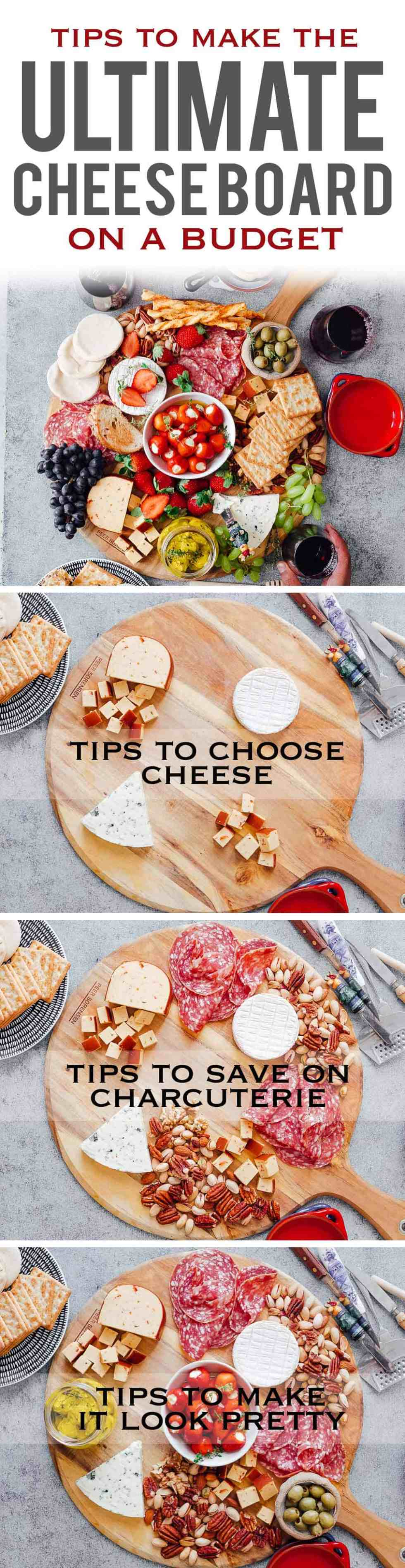 Learn how to make the Ultimate Wine and Cheese Board on a budget with simple tips and tricks. You'll be a DIY cheeseboard ninja by the end of this detailed post. This easy cheese platter is perfect for Christmas holidays, as a party appetizer for a crowd or for a romantic dinner date. Also detailed instructions for wine and cheese pairing