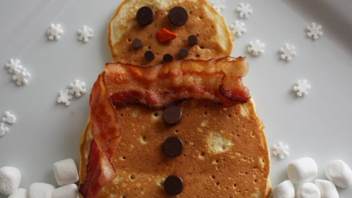 snowman shaped winter pancake