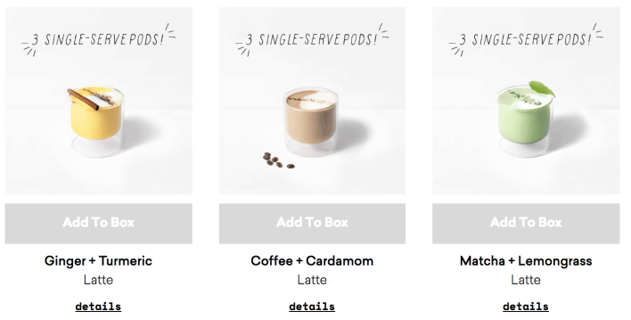 daily harvest latte options