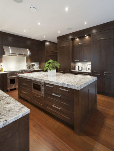 30 Trendy Dark Kitchen Cabinet Ideas | Forever Builders ... on Black Granite Countertops With Brown Cabinets  id=39503