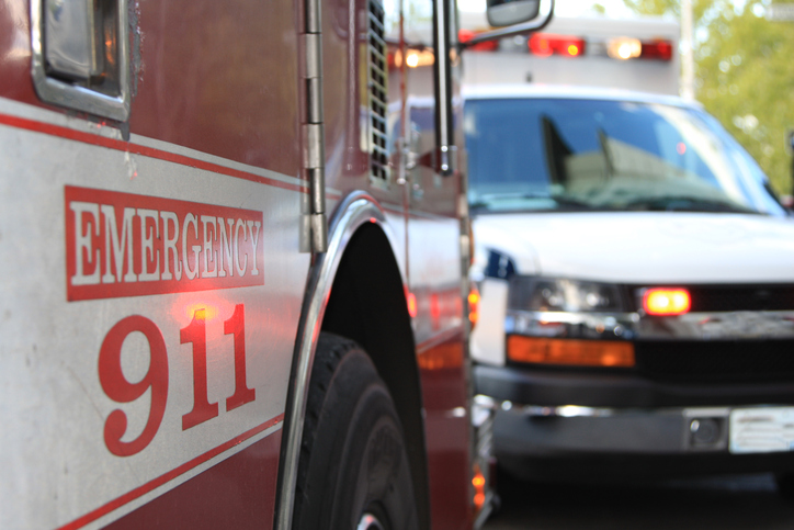 Fire engine and ambulance at emergency scene. (Stock image/Getty)