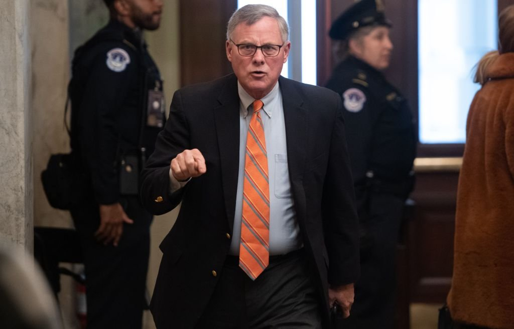 US Senator Richard Burr (R-NC) arrives for the Senate impeachment trial of US President Donald Trump at the US Capitol in Washington, DC, January 21, 2020. (SAUL LOEB/AFP via Getty Images)